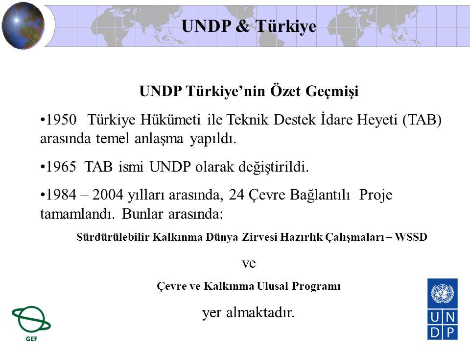 UNDP Türkiye'nin Özet Geçmişi Çevre ve Kalkınma Ulusal Programı