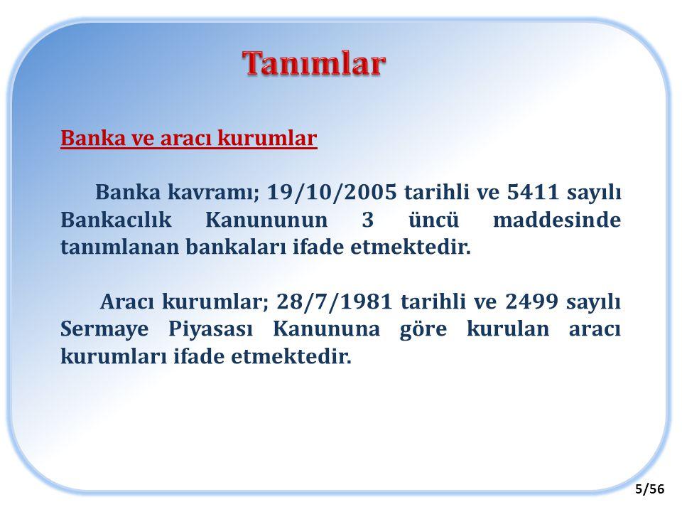 Tanımlar Banka ve aracı kurumlar