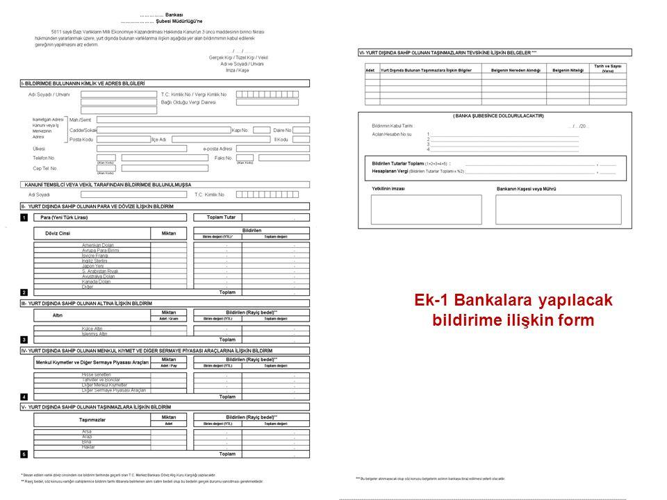 Ek-1 Bankalara yapılacak bildirime ilişkin form