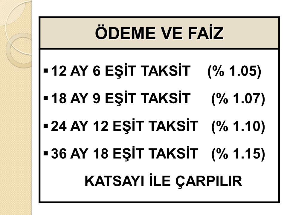 ÖDEME VE FAİZ 12 AY 6 EŞİT TAKSİT (% 1.05)