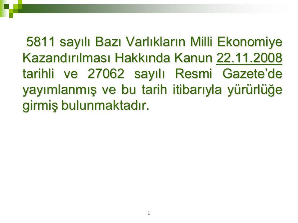 5811 sayılı Bazı Varlıkların Milli Ekonomiye Kazandırılması Hakkında Kanun 22.11.2008 tarihli ve 27062 sayılı Resmi Gazete'de yayımlanmış ve bu tarih itibarıyla yürürlüğe girmiş bulunmaktadır.