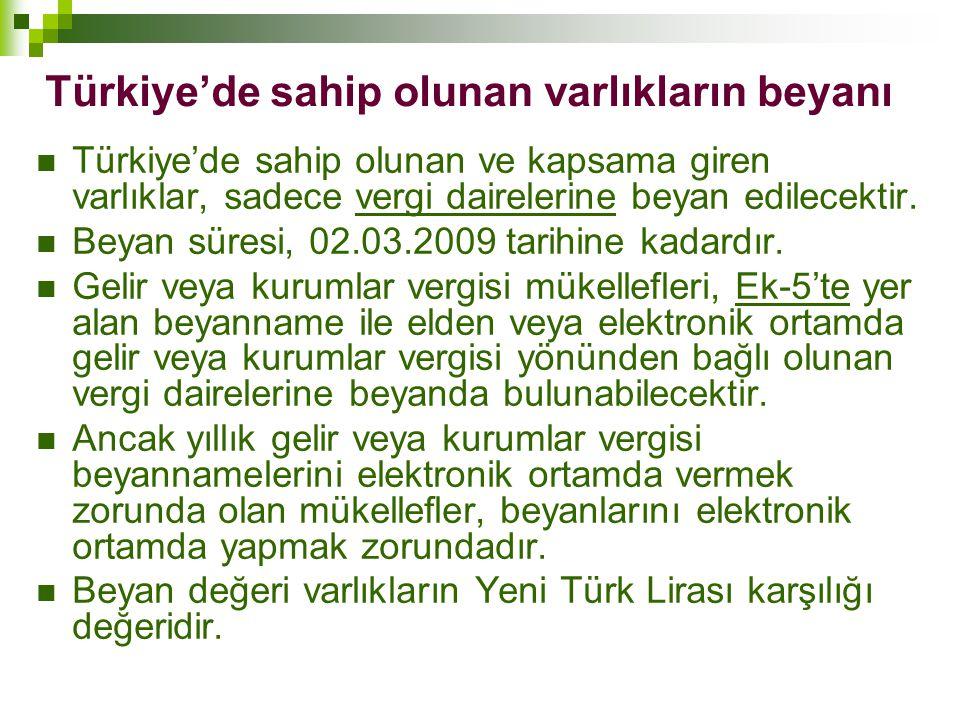 Türkiye'de sahip olunan varlıkların beyanı