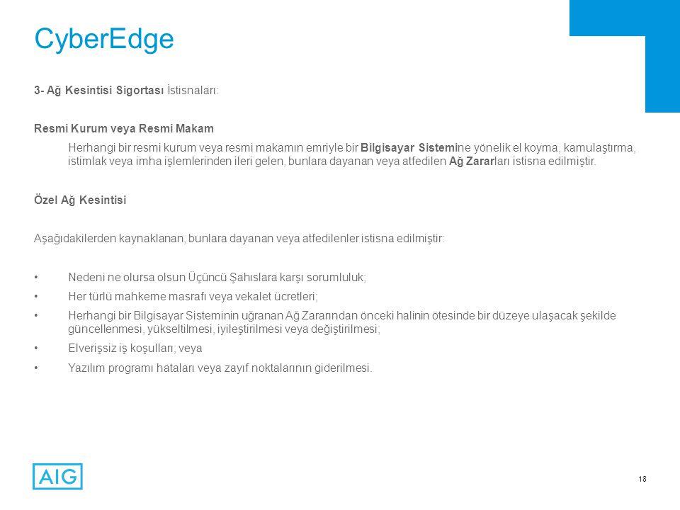 CyberEdge 3- Ağ Kesintisi Sigortası İstisnaları: