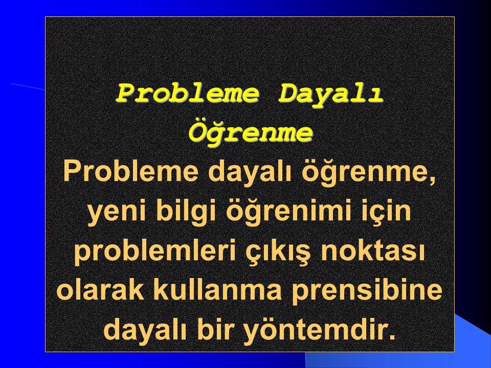 Probleme Dayalı Öğrenme Probleme dayalı öğrenme, yeni bilgi öğrenimi için problemleri çıkış noktası olarak kullanma prensibine dayalı bir yöntemdir.