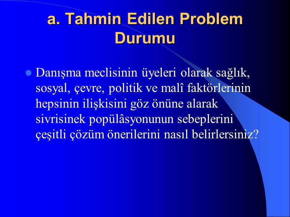 a. Tahmin Edilen Problem Durumu