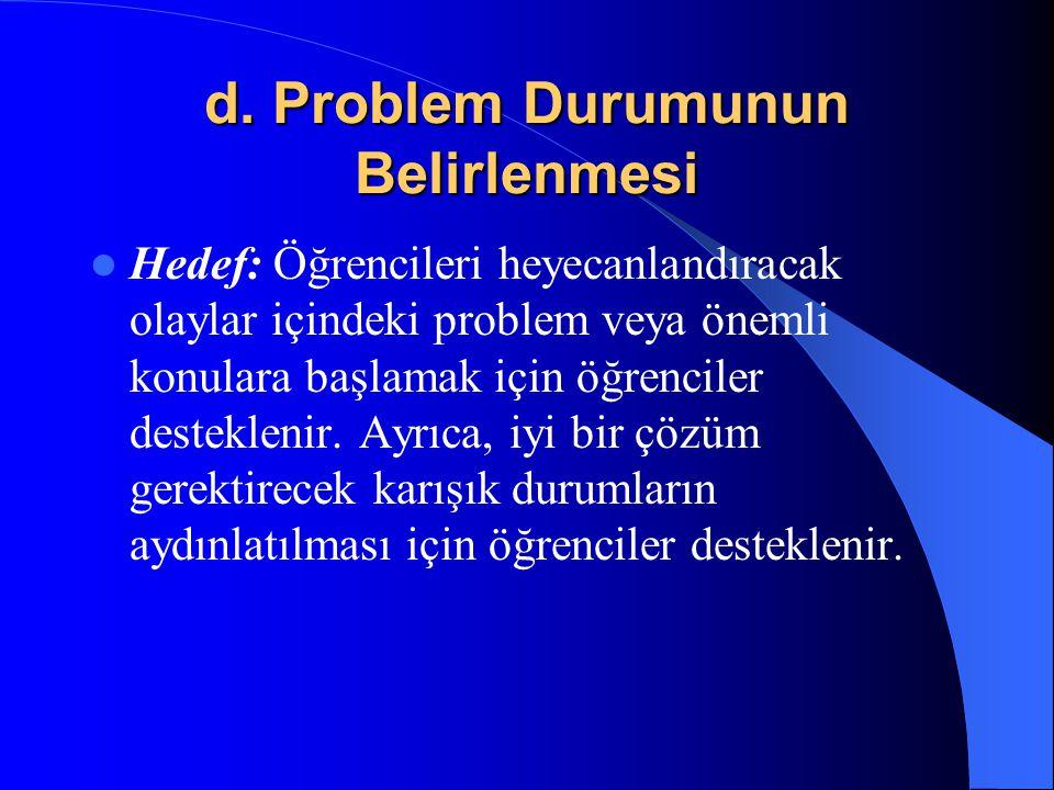 d. Problem Durumunun Belirlenmesi