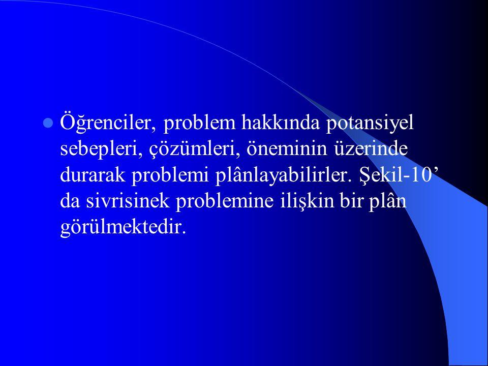 Öğrenciler, problem hakkında potansiyel sebepleri, çözümleri, öneminin üzerinde durarak problemi plânlayabilirler.