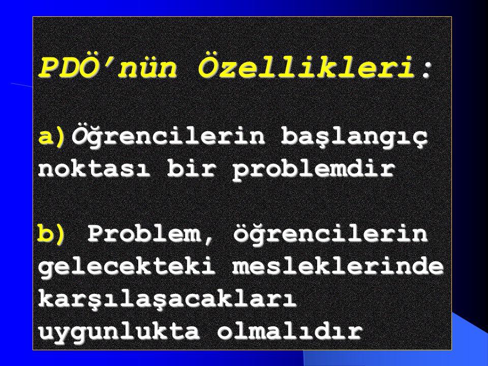 PDÖ'nün Özellikleri: a)Öğrencilerin başlangıç noktası bir problemdir b) Problem, öğrencilerin gelecekteki mesleklerinde karşılaşacakları uygunlukta olmalıdır