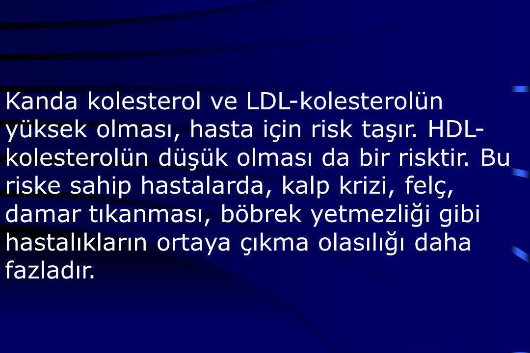 Kanda kolesterol ve LDL-kolesterolün yüksek olması, hasta için risk taşır.