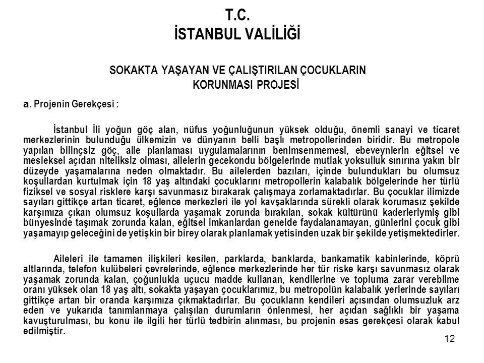 T.C. İSTANBUL VALİLİĞİ SOKAKTA YAŞAYAN VE ÇALIŞTIRILAN ÇOCUKLARIN KORUNMASI PROJESİ