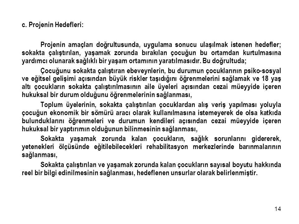 c. Projenin Hedefleri: