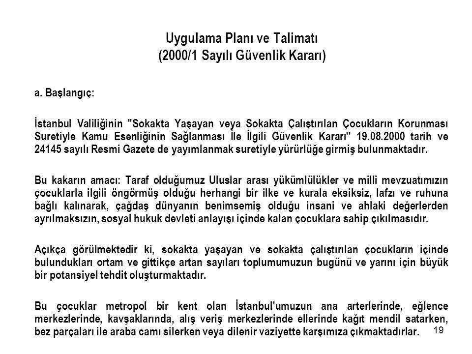 Uygulama Planı ve Talimatı (2000/1 Sayılı Güvenlik Kararı)