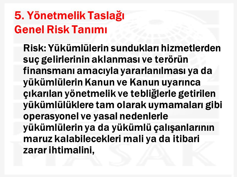 5. Yönetmelik Taslağı Genel Risk Tanımı
