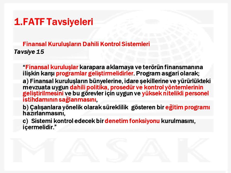 1.FATF Tavsiyeleri Finansal Kuruluşların Dahili Kontrol Sistemleri