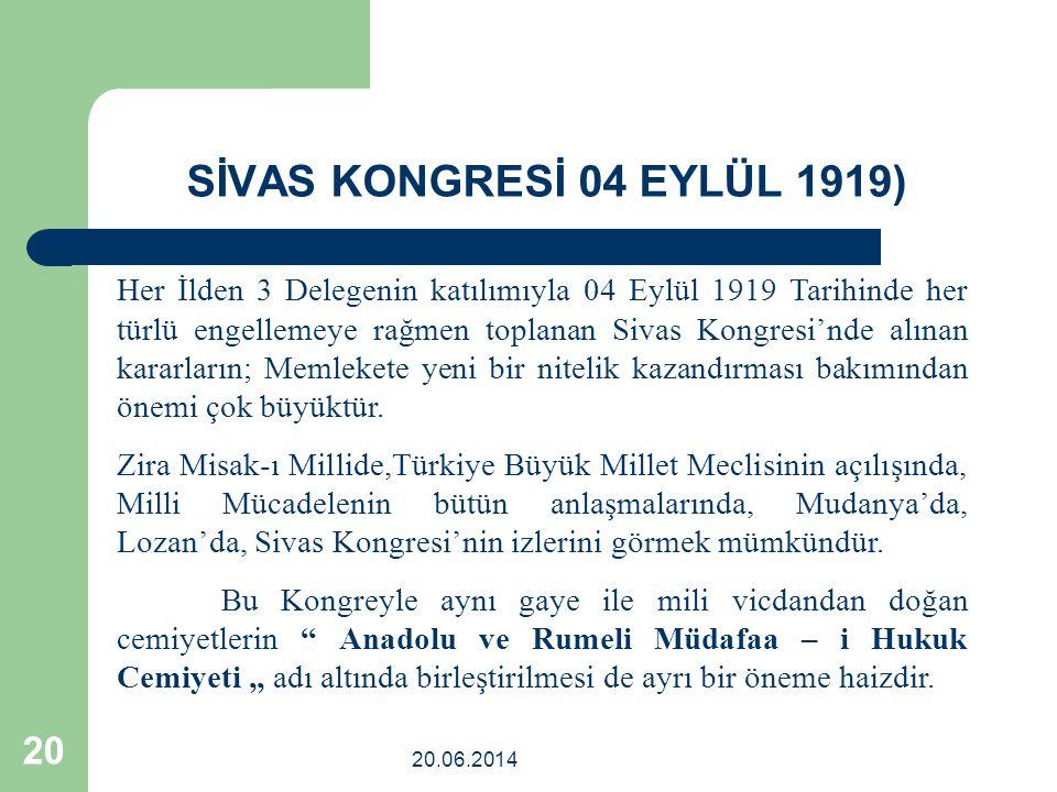 SİVAS KONGRESİ 04 EYLÜL 1919)