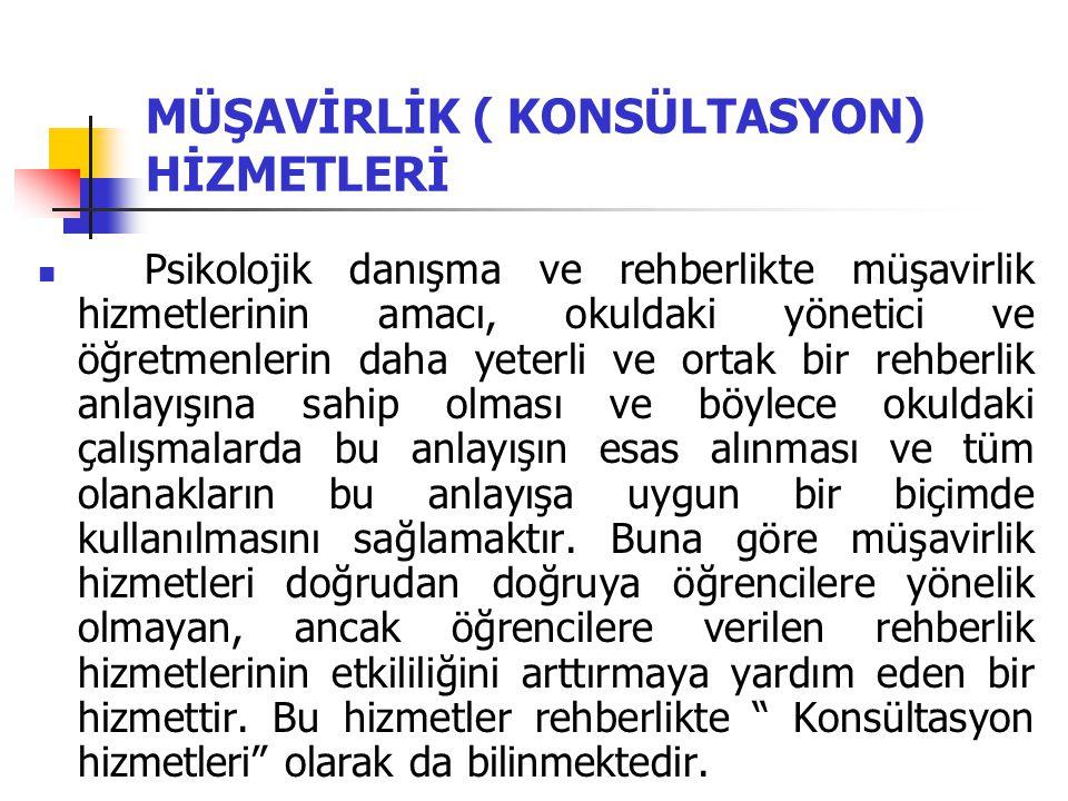 MÜŞAVİRLİK ( KONSÜLTASYON) HİZMETLERİ