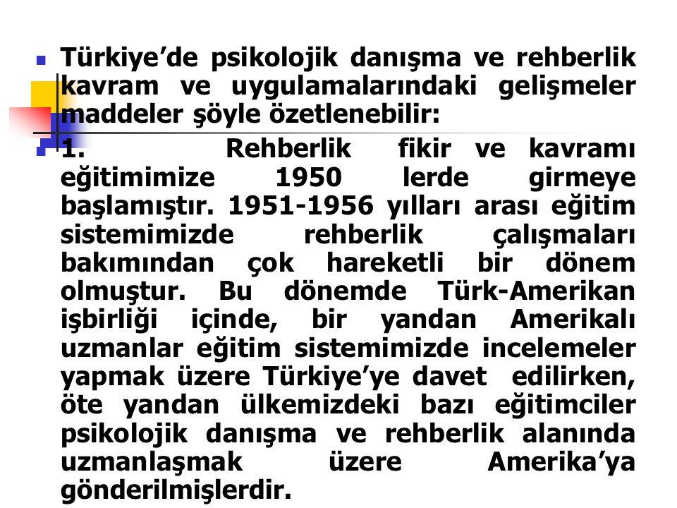 Türkiye'de psikolojik danışma ve rehberlik kavram ve uygulamalarındaki gelişmeler maddeler şöyle özetlenebilir: