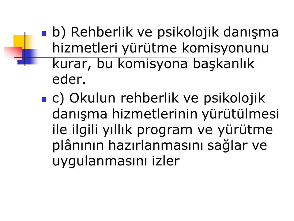 b) Rehberlik ve psikolojik danışma hizmetleri yürütme komisyonunu kurar, bu komisyona başkanlık eder.