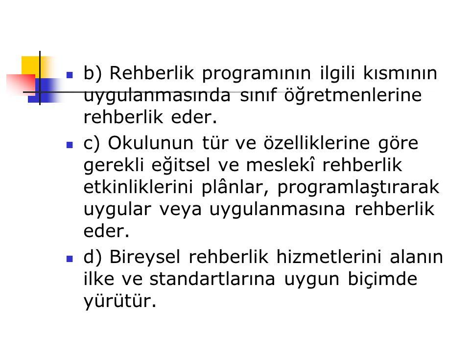 b) Rehberlik programının ilgili kısmının uygulanmasında sınıf öğretmenlerine rehberlik eder.