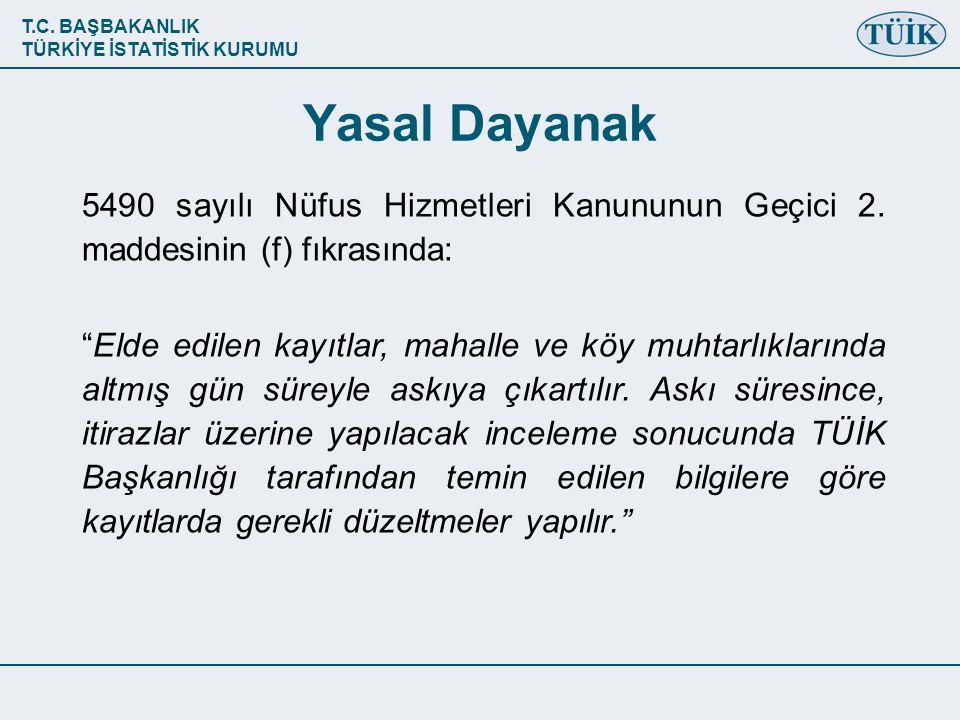 Yasal Dayanak 5490 sayılı Nüfus Hizmetleri Kanununun Geçici 2. maddesinin (f) fıkrasında: