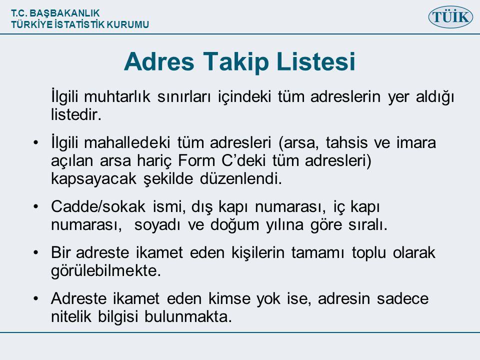 Adres Takip Listesi İlgili muhtarlık sınırları içindeki tüm adreslerin yer aldığı listedir.