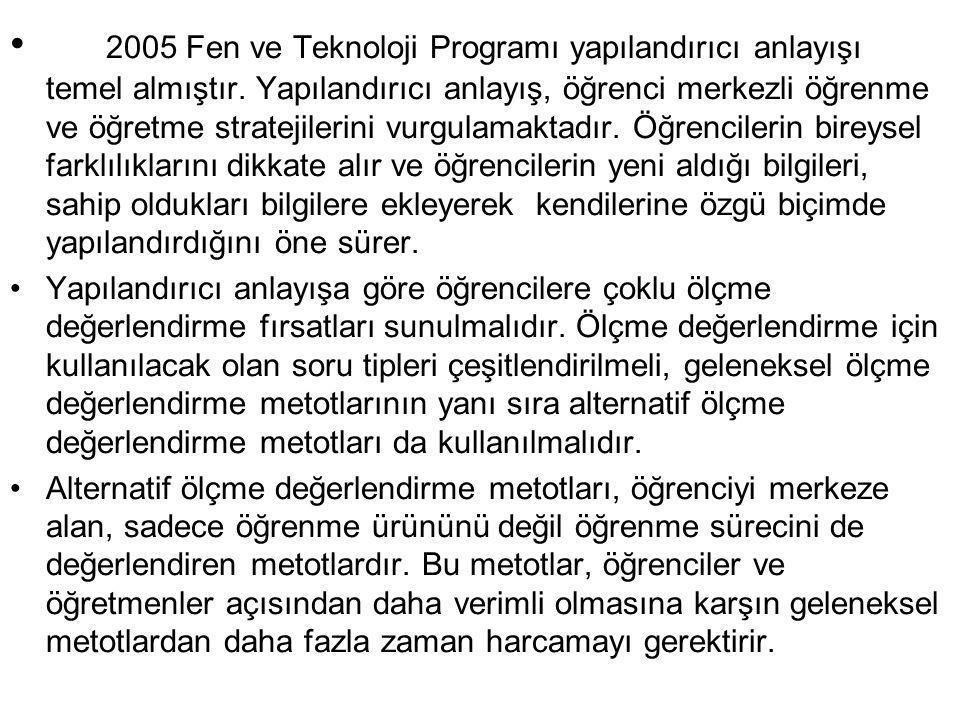 2005 Fen ve Teknoloji Programı yapılandırıcı anlayışı temel almıştır