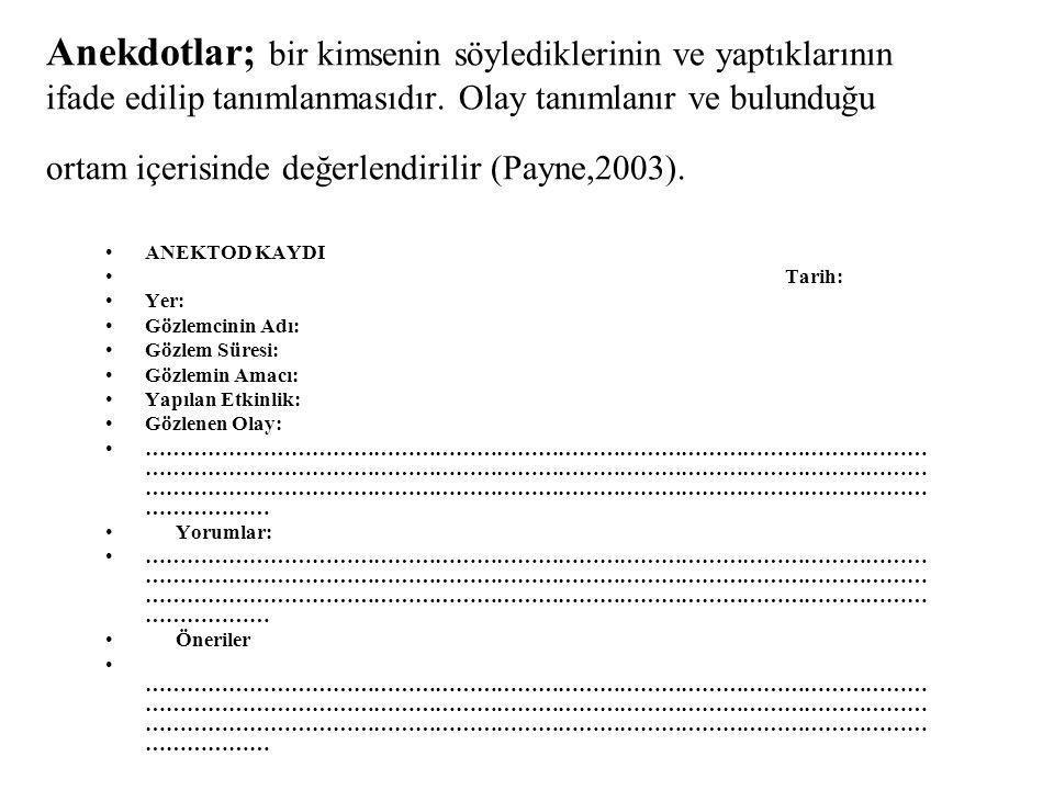 Anekdotlar; bir kimsenin söylediklerinin ve yaptıklarının ifade edilip tanımlanmasıdır. Olay tanımlanır ve bulunduğu ortam içerisinde değerlendirilir (Payne,2003).