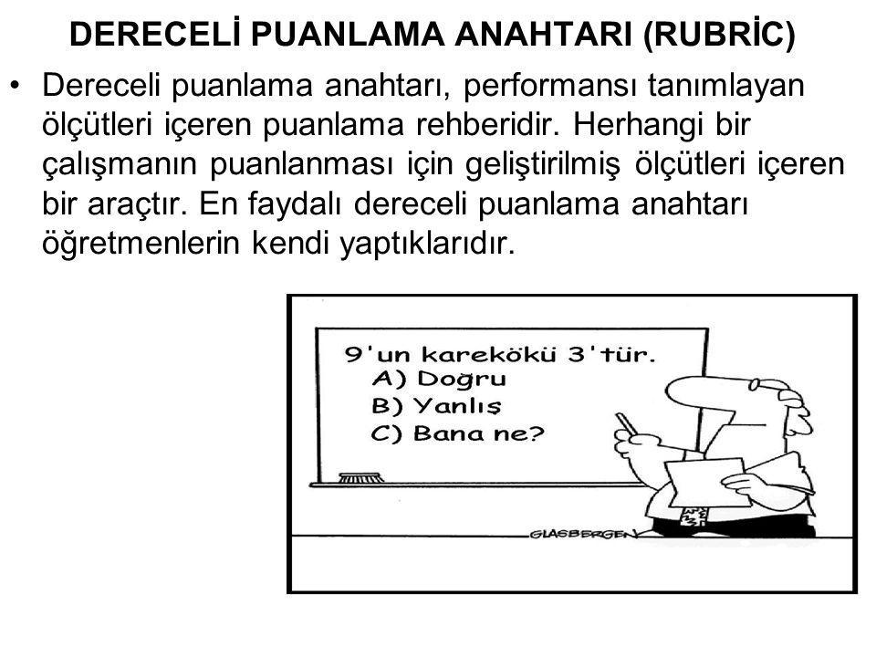 DERECELİ PUANLAMA ANAHTARI (RUBRİC)