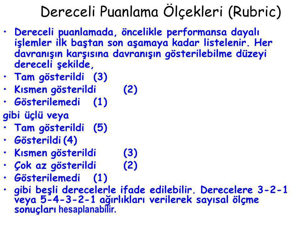 Dereceli Puanlama Ölçekleri (Rubric)