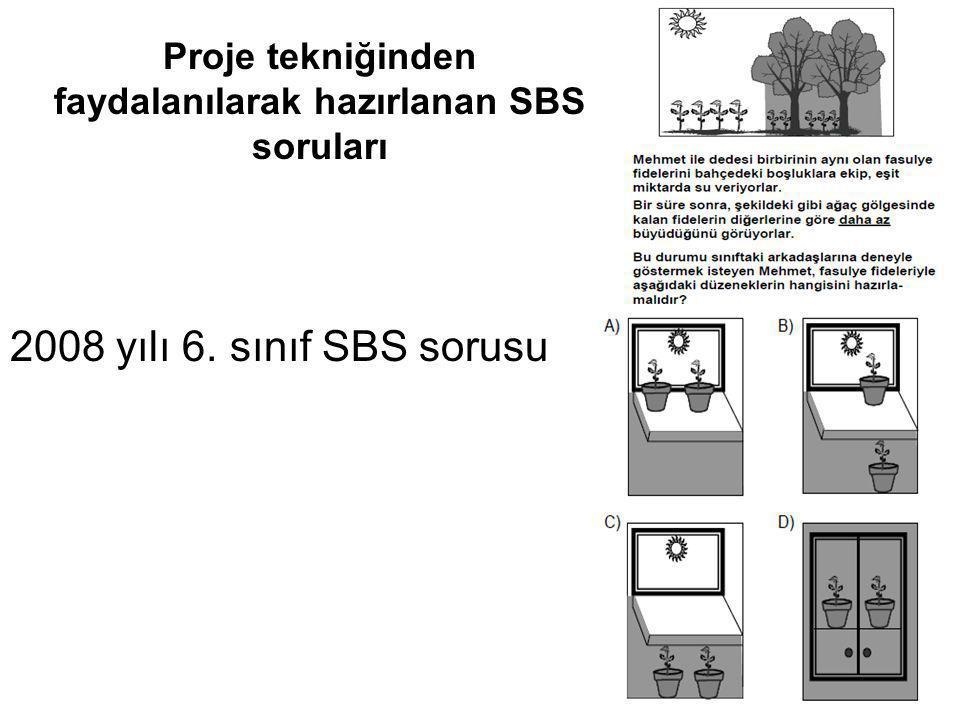 Proje tekniğinden faydalanılarak hazırlanan SBS soruları