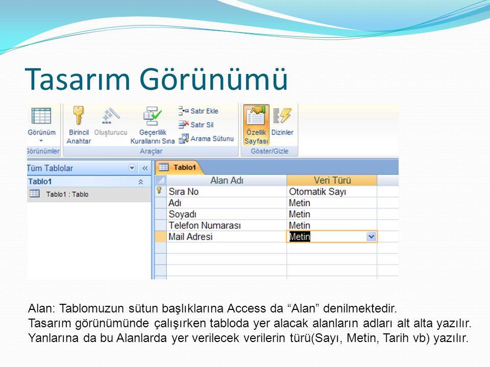 Tasarım Görünümü Alan: Tablomuzun sütun başlıklarına Access da Alan denilmektedir.