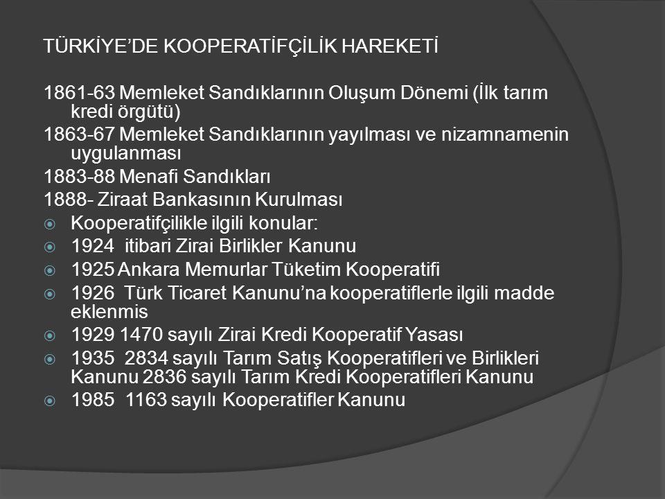 TÜRKİYE'DE KOOPERATİFÇİLİK HAREKETİ