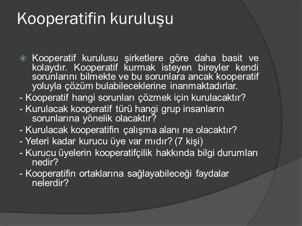 Kooperatifin kuruluşu