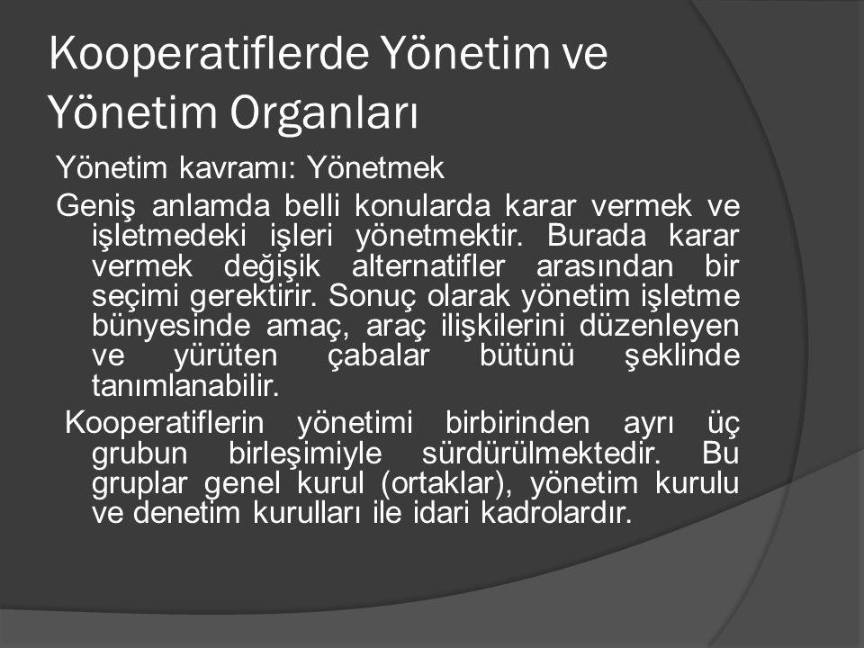 Kooperatiflerde Yönetim ve Yönetim Organları
