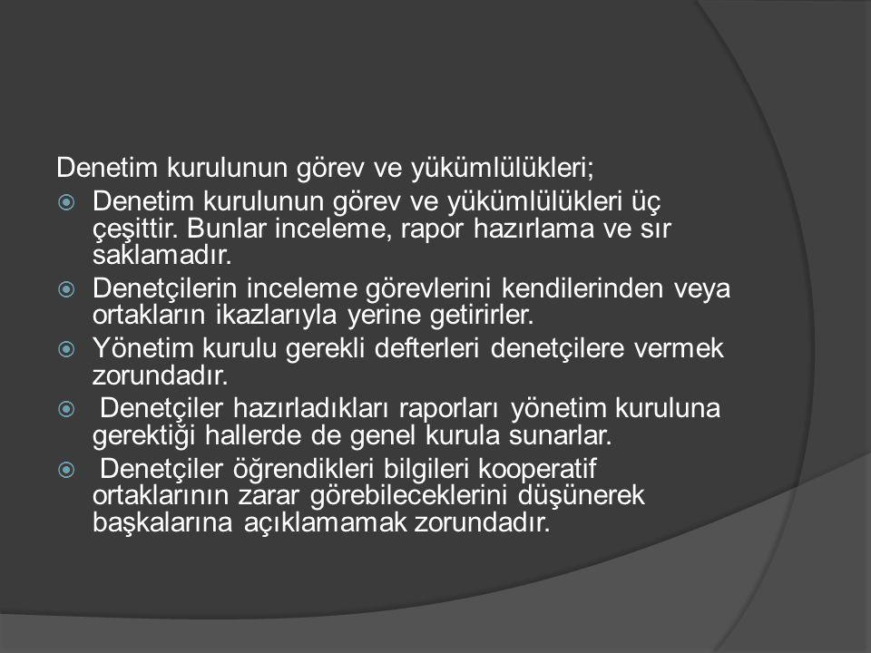 Denetim kurulunun görev ve yükümlülükleri;