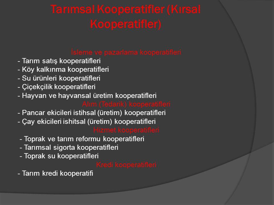 Tarımsal Kooperatifler (Kırsal Kooperatifler)