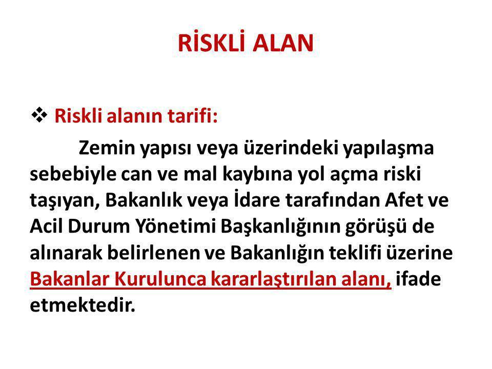 RİSKLİ ALAN Riskli alanın tarifi: