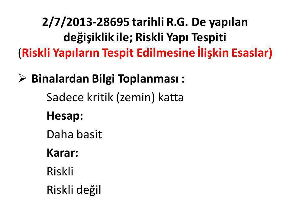 2/7/2013-28695 tarihli R.G. De yapılan değişiklik ile; Riskli Yapı Tespiti (Riskli Yapıların Tespit Edilmesine İlişkin Esaslar)