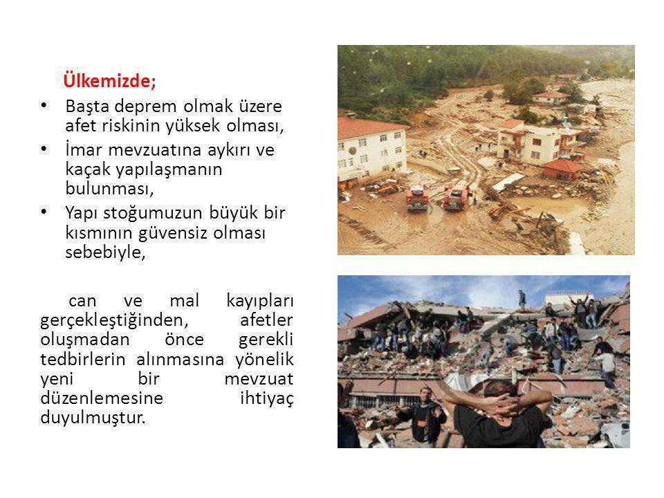 Ülkemizde; Başta deprem olmak üzere afet riskinin yüksek olması, İmar mevzuatına aykırı ve kaçak yapılaşmanın bulunması,