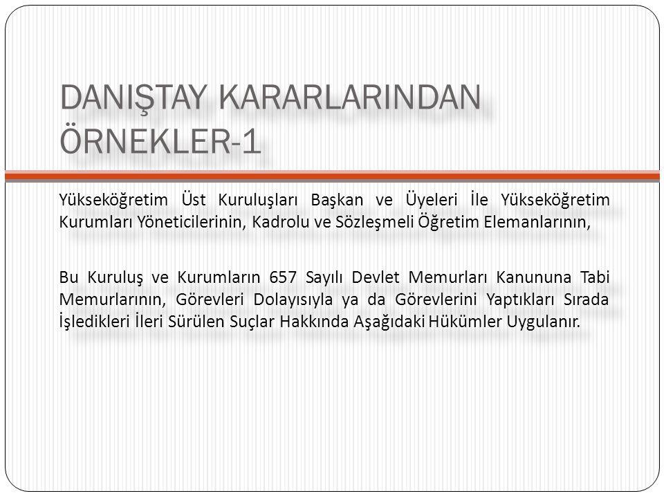 DANIŞTAY KARARLARINDAN ÖRNEKLER-1