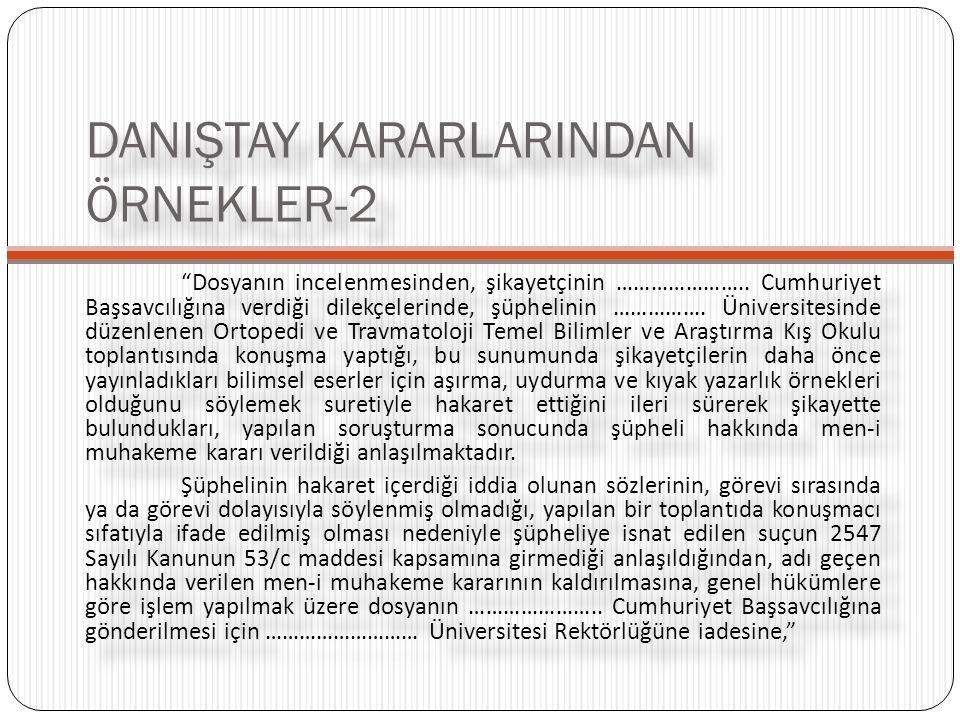 DANIŞTAY KARARLARINDAN ÖRNEKLER-2