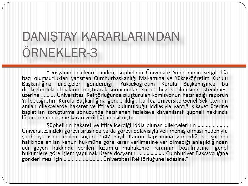 DANIŞTAY KARARLARINDAN ÖRNEKLER-3