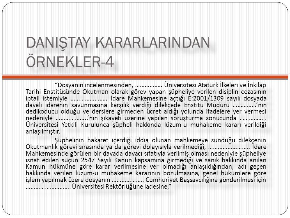 DANIŞTAY KARARLARINDAN ÖRNEKLER-4
