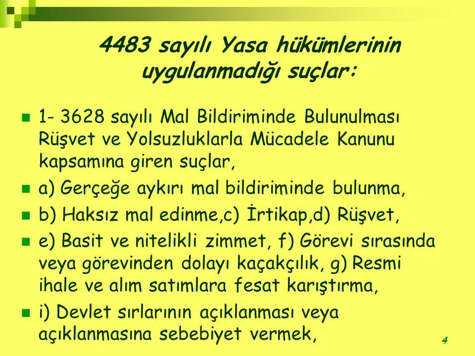4483 sayılı Yasa hükümlerinin uygulanmadığı suçlar: