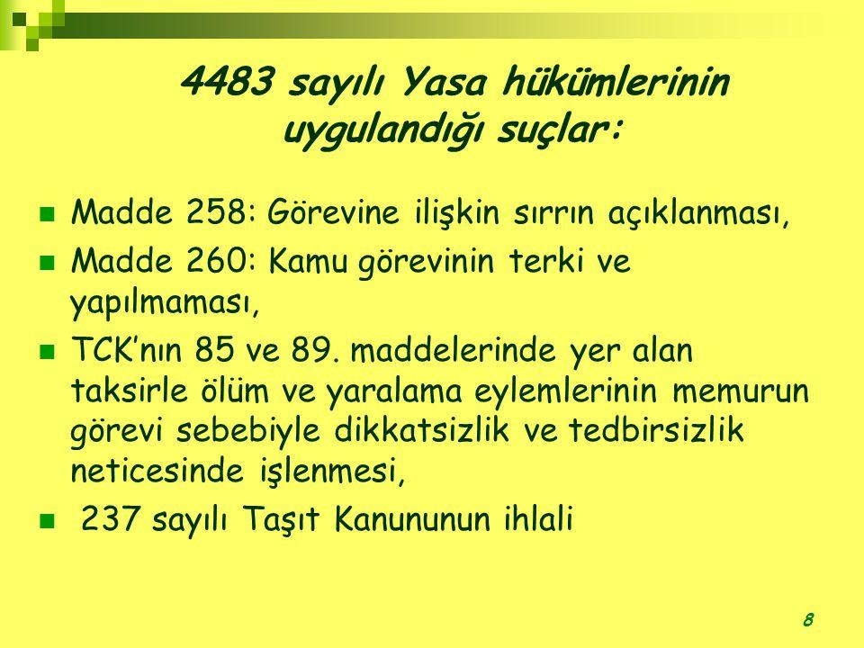 4483 sayılı Yasa hükümlerinin uygulandığı suçlar: