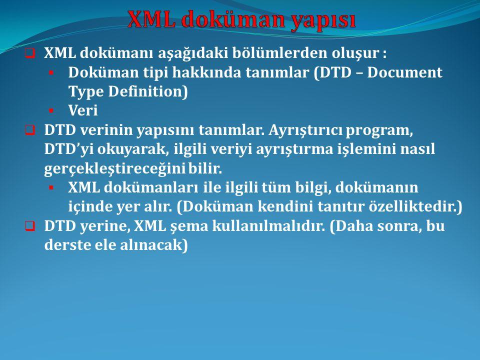 XML doküman yapısı XML dokümanı aşağıdaki bölümlerden oluşur :