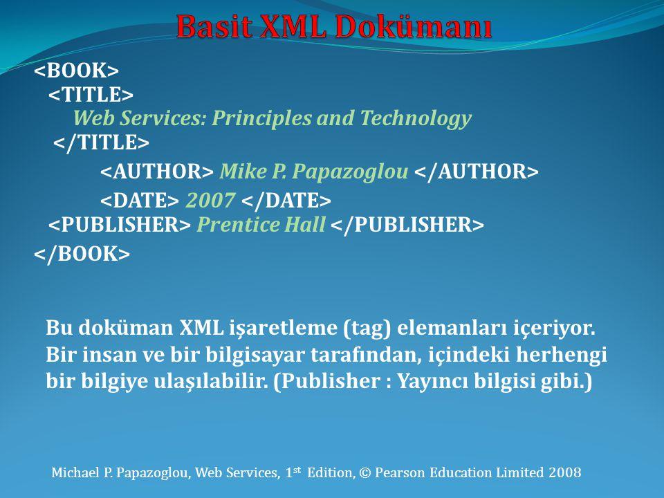 Basit XML Dokümanı <BOOK> <TITLE>