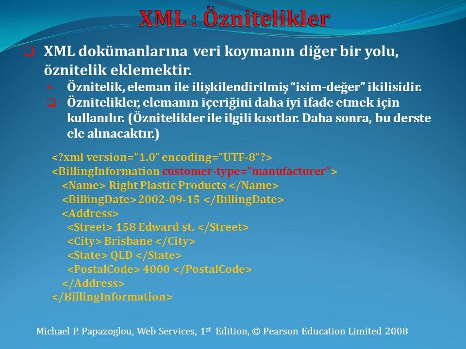 XML : Öznitelikler XML dokümanlarına veri koymanın diğer bir yolu, öznitelik eklemektir.