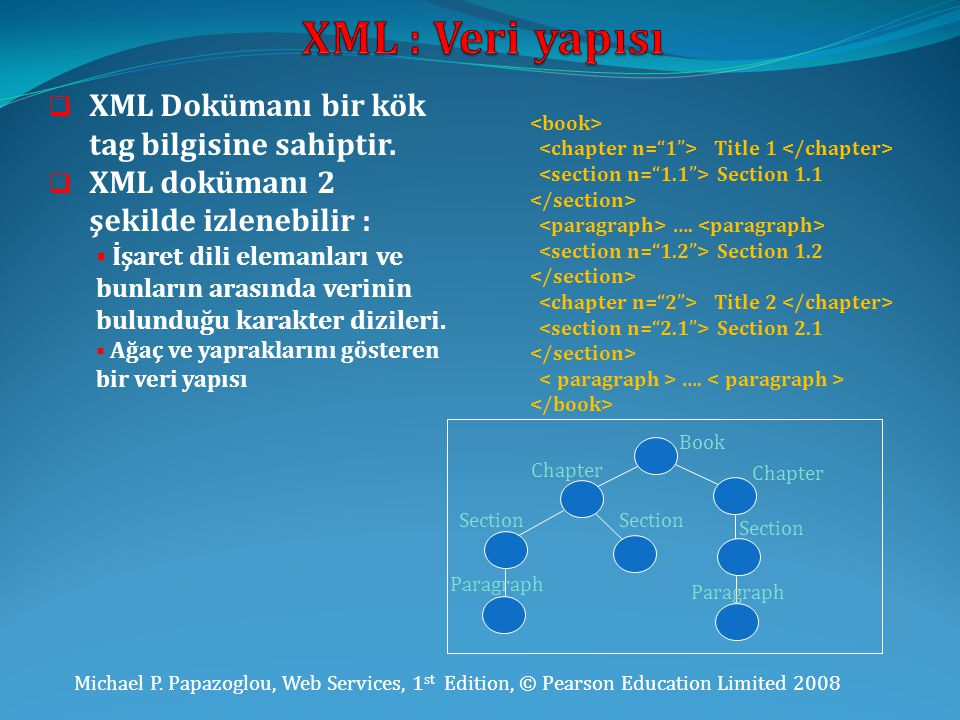XML : Veri yapısı XML Dokümanı bir kök tag bilgisine sahiptir.