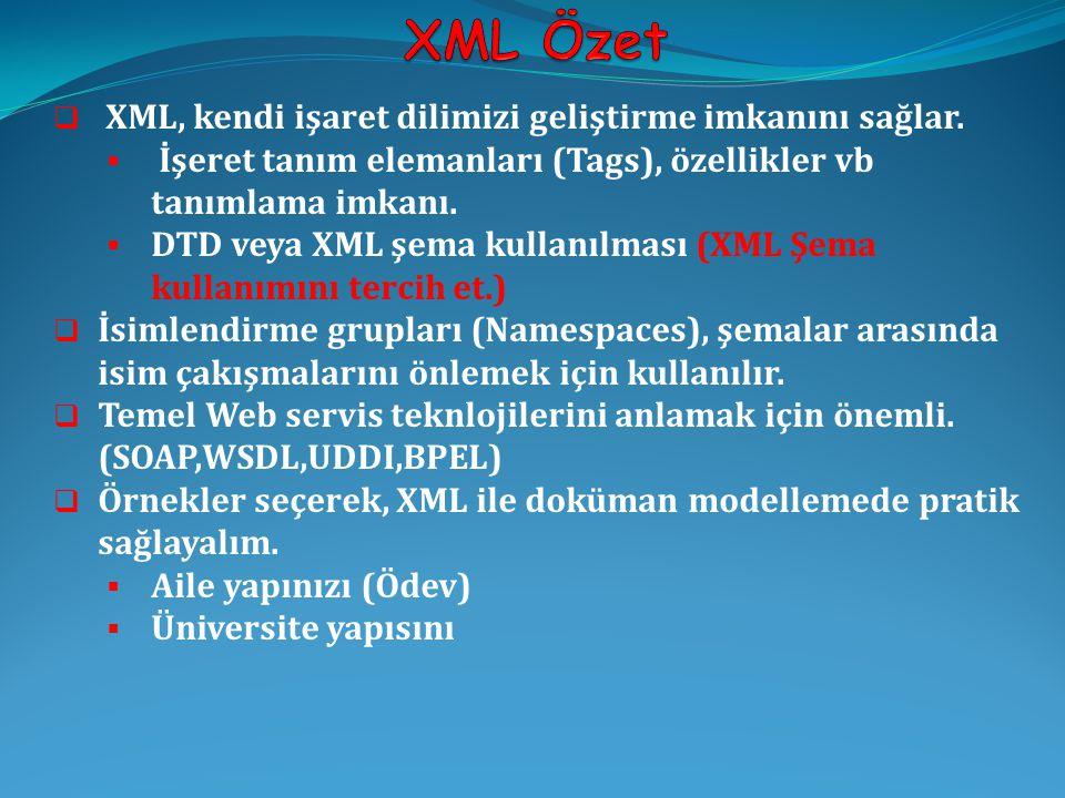 XML Özet XML, kendi işaret dilimizi geliştirme imkanını sağlar.